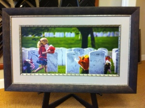 framed picture of young girl in cemetery
